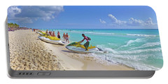Portable Battery Charger featuring the digital art Active Beach M3 by Francesca Mackenney