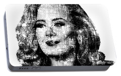 Adele Text Portrait - Typographic Face Poster With The Lyrics For The Song Hello Portable Battery Charger by Jose Elias - Sofia Pereira