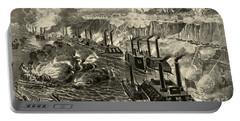 Admiral Porter's Fleet Running The Rebel Blockade Of The Mississippi At Vicksburg Portable Battery Charger