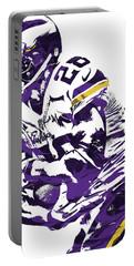 Portable Battery Charger featuring the mixed media Adrian Peterson Minnesota Vikings Pixel Art by Joe Hamilton
