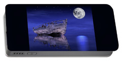 Portable Battery Charger featuring the photograph Adrift In The Moonlight - Old Fishing Boat by Gill Billington