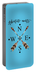 Portable Battery Charger featuring the digital art Adventure Waits Typography Arrows Compass Cardinal Directions by Georgeta Blanaru
