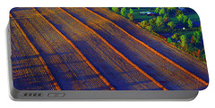 Aerial Farm Field Harvested At Sunset Portable Battery Charger by Tom Jelen