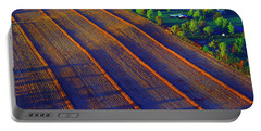 Aerial Farm Field Harvested At Sunset Portable Battery Charger