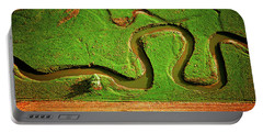 aerial, farm, stream, northern, Illinois, farms, meandering  Portable Battery Charger