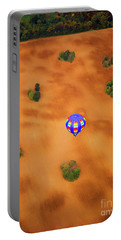 Aerial Of Hot Air Balloon Above Tilled Field Fall Portable Battery Charger by Tom Jelen