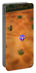 Aerial Of Hot Air Balloon Above Tilled Field Fall Portable Battery Charger