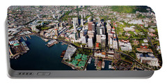 Aerial Panorama - Downtown - City Of Honolulu, Oahu, Hawaii  Portable Battery Charger