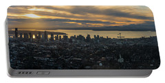 Aerial Seattle Skyline Panorama Looking West Portable Battery Charger