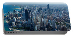 Aerial View Of A City, Lake Michigan Portable Battery Charger by Panoramic Images