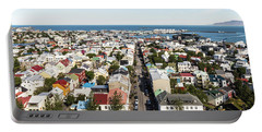 Aerial View Of Reykjavik In Iceland Portable Battery Charger