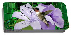Portable Battery Charger featuring the mixed media Aeronautics Humming Bird by Marvin Blaine