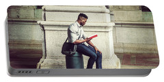African American College Student Studying In New York Portable Battery Charger