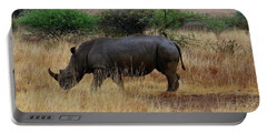 African Animals On Safari - One Very Rare White Rhinoceros Right Angle With Background Portable Battery Charger