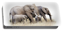 African Elephant Group Isolated Portable Battery Charger