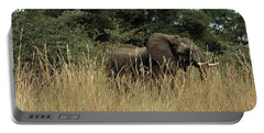 Portable Battery Charger featuring the photograph African Elephant In Tall Grass by Karen Zuk Rosenblatt