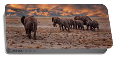 African Elephants Portable Battery Charger by Anthony Dezenzio