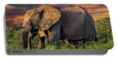 African Elephants At Sunset Portable Battery Charger