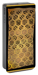 Portable Battery Charger featuring the digital art African Kuba Cloth Print by Vagabond Folk Art - Virginia Vivier