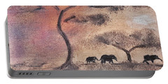 African Landscape Three Elephants And Banya Tree At Watering Hole With Mountain And Sunset Grasses S Portable Battery Charger by MendyZ