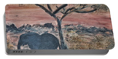 African Landscape With Elephant And Banya Tree At Watering Hole With Mountain And Sunset Grasses Shr Portable Battery Charger