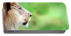 African Lion Face Closeup Web Banner Portable Battery Charger