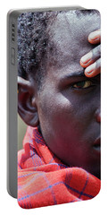 African Maasai Warrior Portable Battery Charger by Amyn Nasser