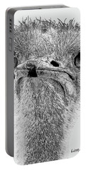African Ostrich Sketch Portable Battery Charger