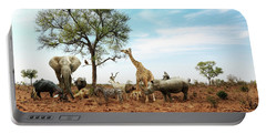 African Safari Animals Meeting Together Around Tree Portable Battery Charger