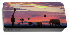 African Safari Colorful Sunrise With Animals Portable Battery Charger