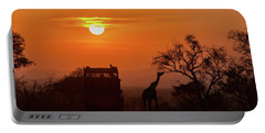 African Safari Sunset Silhouette Portable Battery Charger