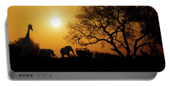 African Sunset Silhouette With Copy Space Portable Battery Charger