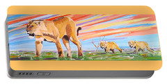 African Lion And Cubs Portable Battery Charger by Phyllis Kaltenbach