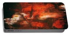 After Midnight - Black Orange And White Contemporary Abstract Art Portable Battery Charger