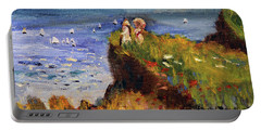 After Monet Somewhere On The Cliffs Of Normandie Portable Battery Charger by Michael Helfen