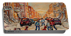 Portable Battery Charger featuring the painting After School Hockey Game by Carole Spandau