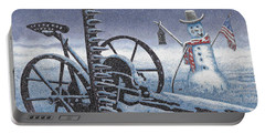 After The Harvest Snowman Portable Battery Charger by John Stephens