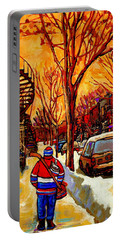After The Hockey Game A Winter Walk At Sundown Montreal City Scene Painting  By Carole Spandau Portable Battery Charger