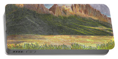 Portable Battery Charger featuring the painting After The Monsoon Organ Mountains by Jack Pumphrey