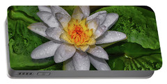 Portable Battery Charger featuring the photograph After The Rain - Water Lily 003 by George Bostian