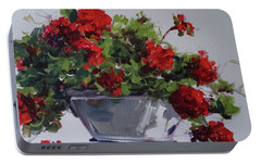 Portable Battery Charger featuring the painting Afternoon Geraniums by Sandra Strohschein