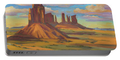 Portable Battery Charger featuring the painting Afternoon Light Monument Valley by Diane McClary