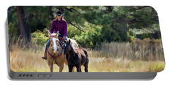 Afternoon Ride In The Sun - Cowgirl Riding Palomino Horse With Foal Portable Battery Charger