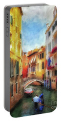 Portable Battery Charger featuring the digital art Ahh Venezia Painterly by Lois Bryan