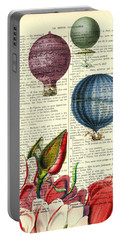 Hot Air Balloons Above Flower Field Portable Battery Charger