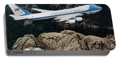 Air Force One Flying Over Mount Rushmore Portable Battery Charger by War Is Hell Store
