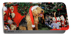 Airedale Terrier Dressed As Santa-claus Portable Battery Charger