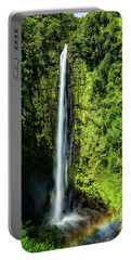 Portable Battery Charger featuring the photograph Akaka Falls With Rainbow by John Hight