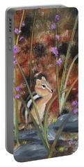 Portable Battery Charger featuring the painting Al Fresco Dining With A View by Judith Rhue