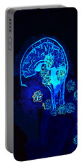 Portable Battery Charger featuring the painting Al In The Mind Black Light View by Lisa Brandel